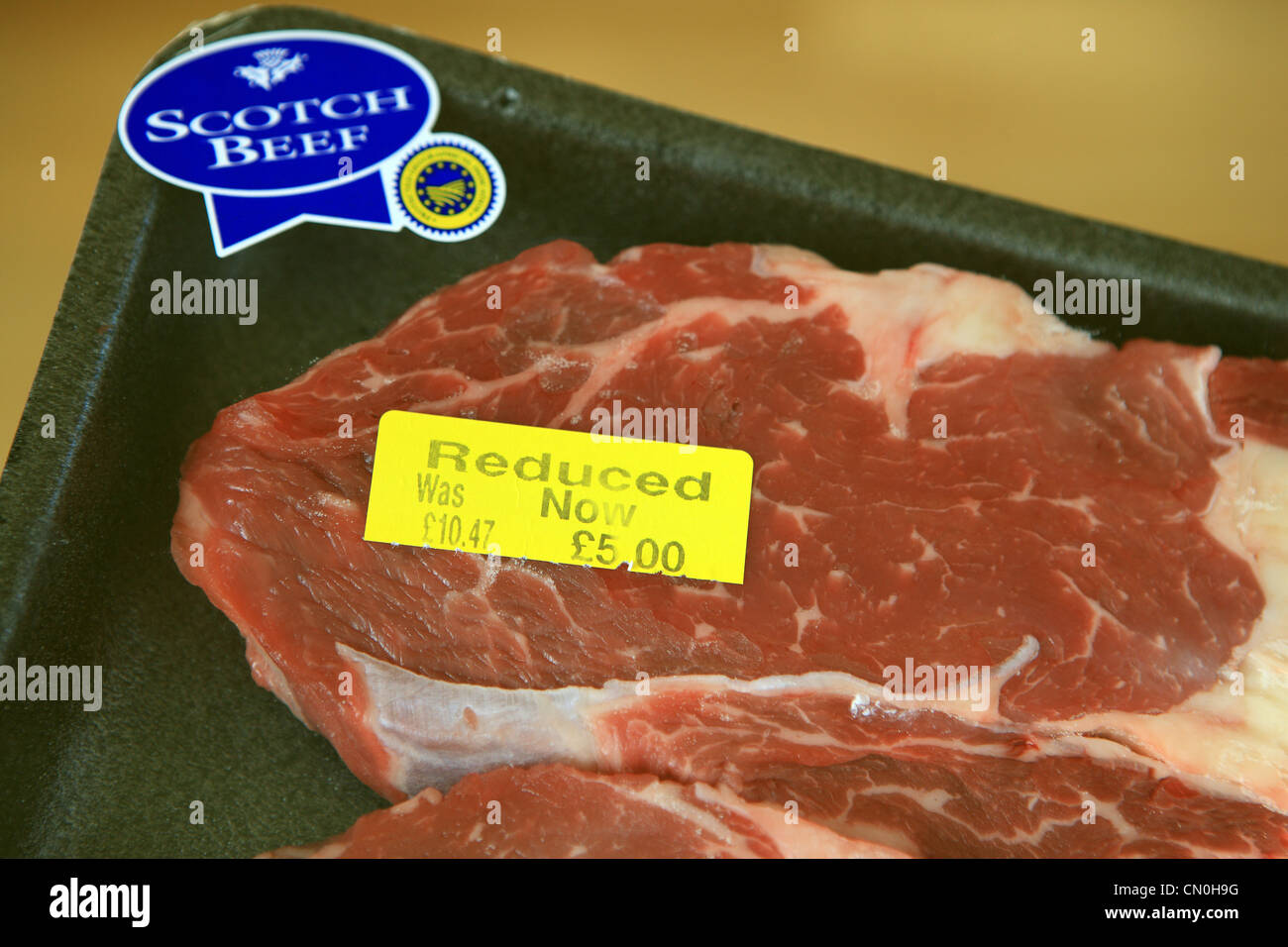 Scotch beef reduced in price in a supermarket - Stock Image