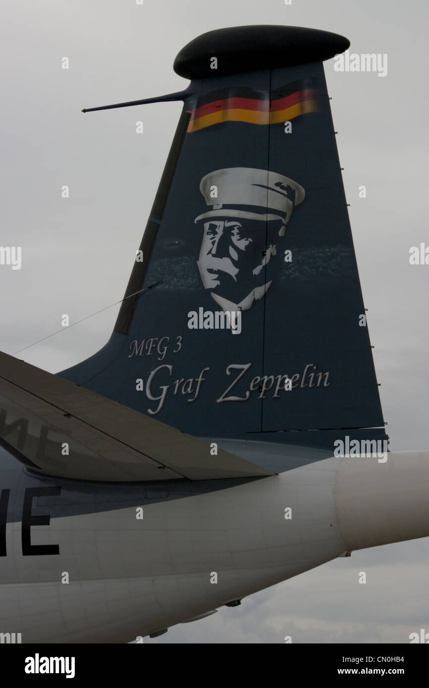 Portrait of Count Ferdinand von Zeppelin (Graf Zeppelin) on the tail of German Navy maritime patrol aircraft - Stock Image