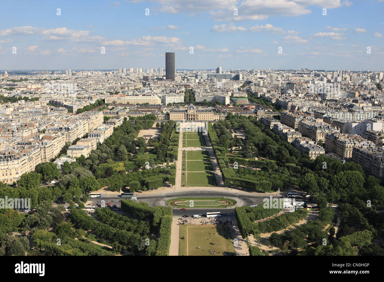 View from the Eiffel Tower over the Parc au Champ de Mars to Ecole Militaire - Stock Image