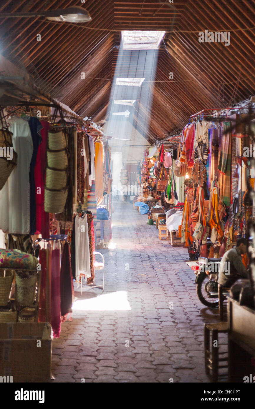 typical alley of the souk of Marrakesh, Morocco - Stock Image