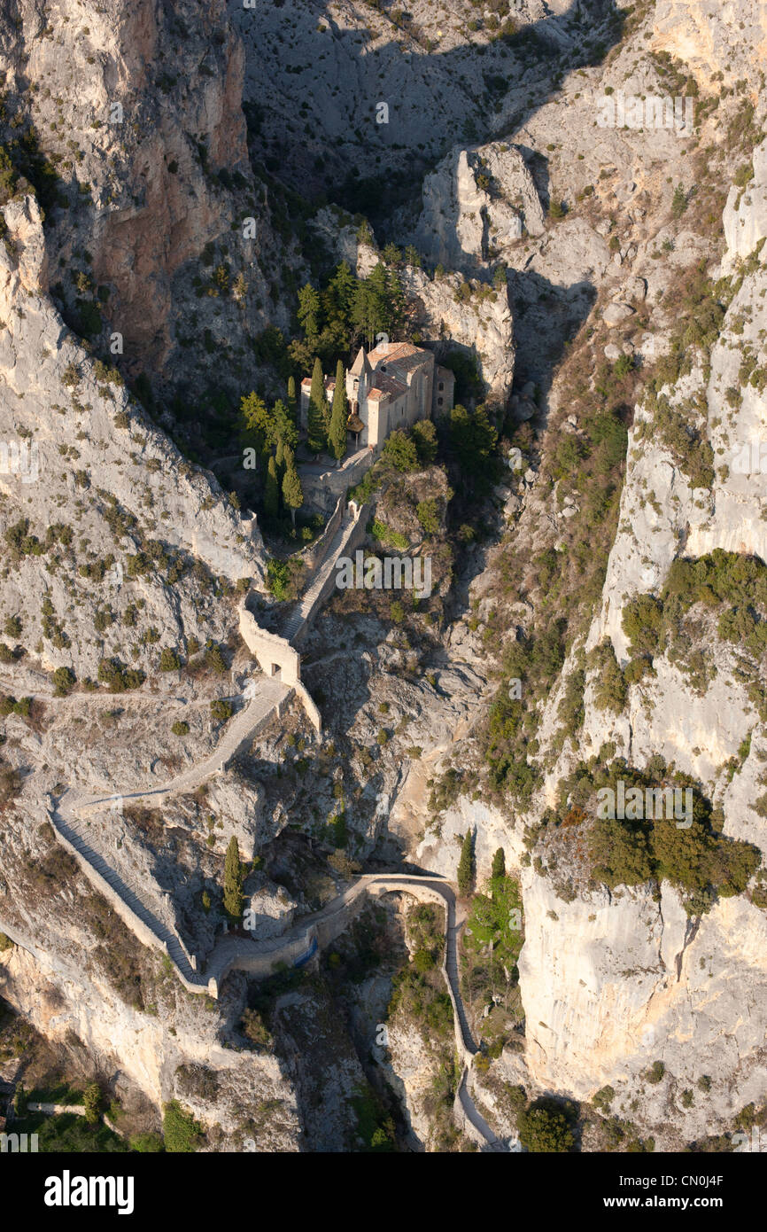 NOTRE-DAME DE BEAUVOIR CHAPEL (aerial view). Moustiers-Sainte-Marie, Provence, France. Stock Photo