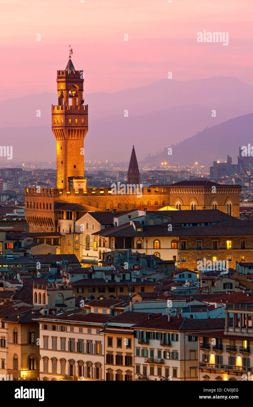 Florence, Palazzo Vecchio at Dusk - Stock Image