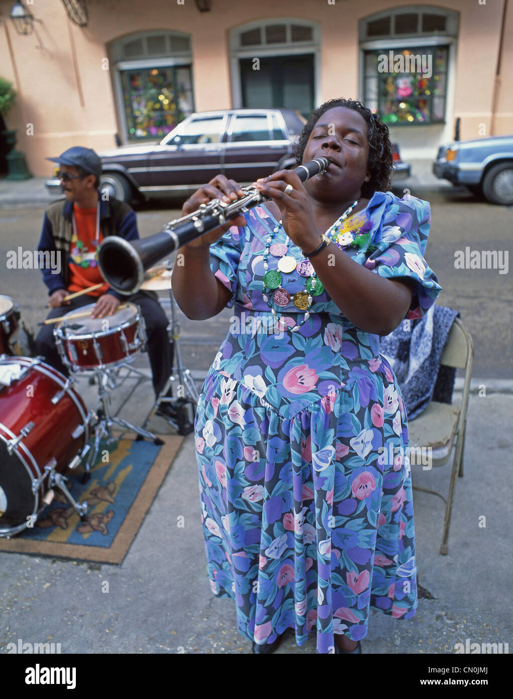 Street jazz musicians, French Quarter, New Orleans, Louisiana, United States of America - Stock Image