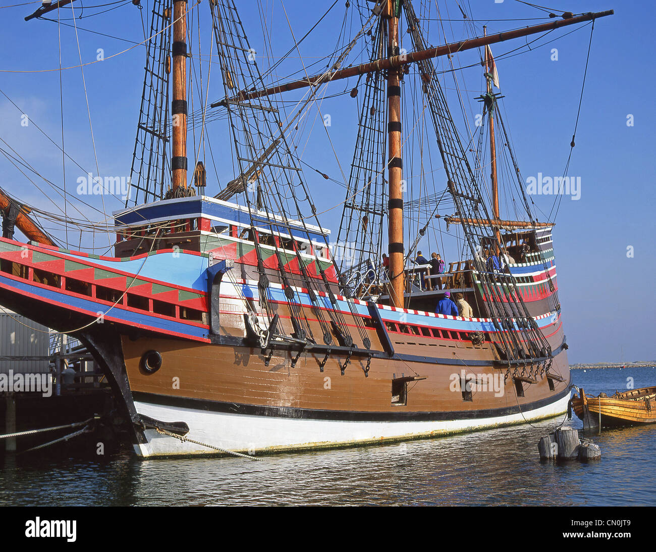 Mayflower II replica ship, Plymouth Rock, Plymouth Harbor, Plymouth, Massachusetts, United States of America Stock Photo