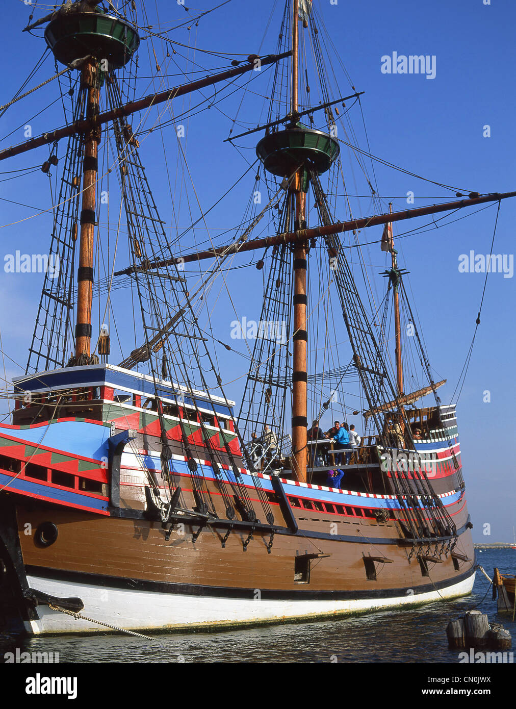 Mayflower II replica ship, Plymouth Rock, Plymouth Harbor, Plymouth, Massachusetts, United States of America - Stock Image