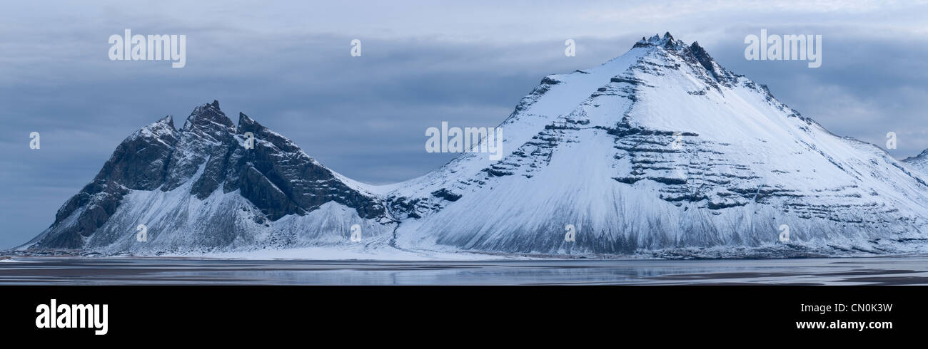 Snow covered mountains. East Fjords, Iceland. - Stock Image