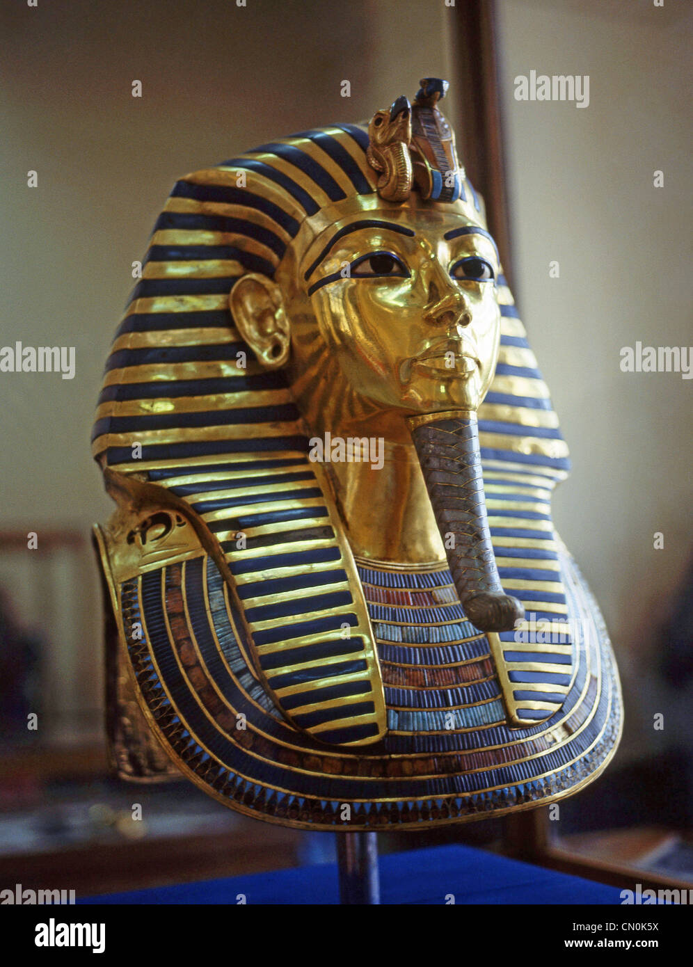 The Gold Mask of Tutankhamun in The Egyptian Museum, Cairo, Cairo Governorate, Republic of Egypt - Stock Image