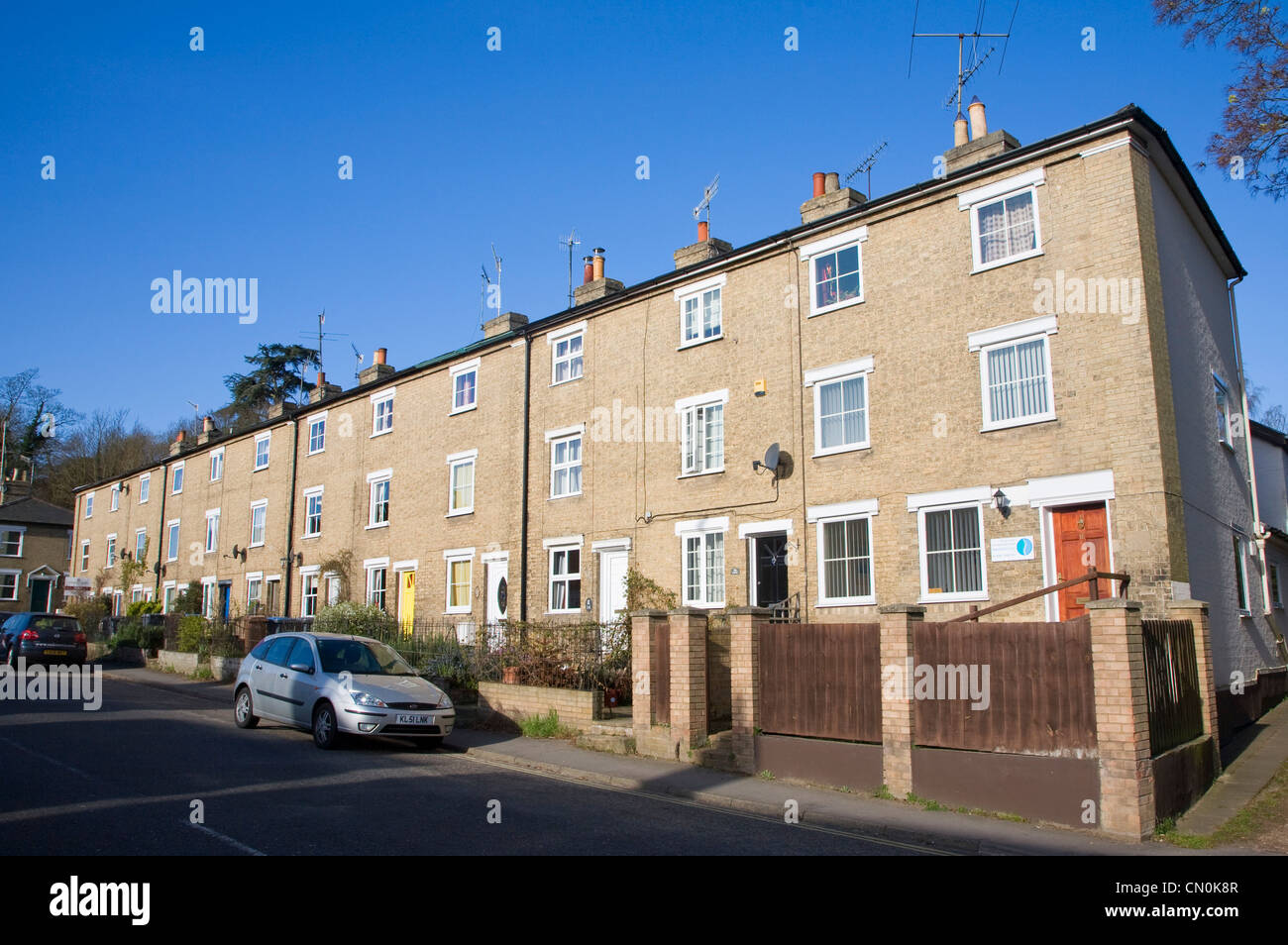 Row of brick terraced houses on Melton Hill, Melton, Suffolk, England - Stock Image