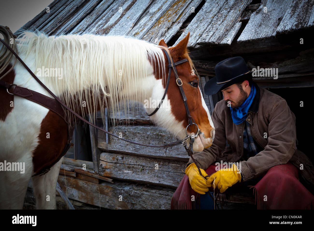 A cowboy and his horse on a ranch in northeastern Wyoming Stock Photo