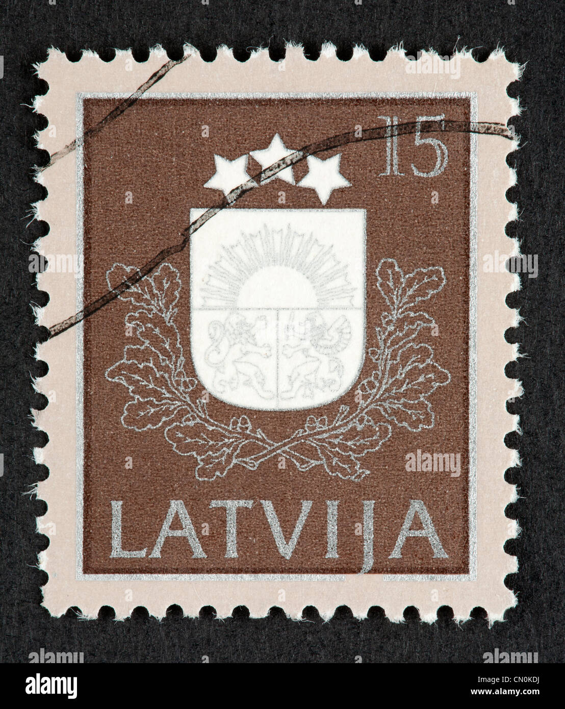 Latvian postage stamp - Stock Image