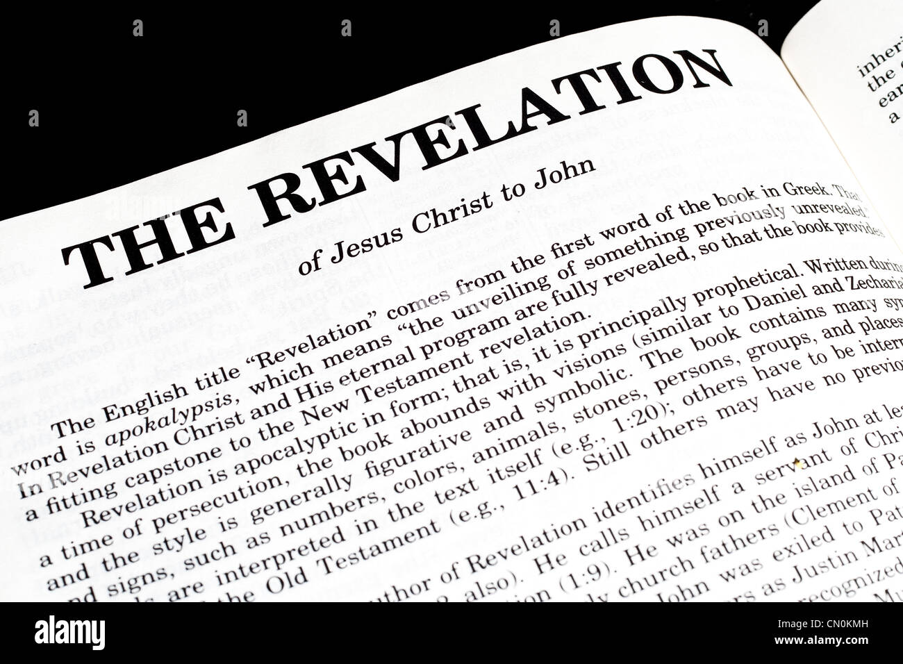 bible opened to the book of revelation stock photo 47343985 alamy