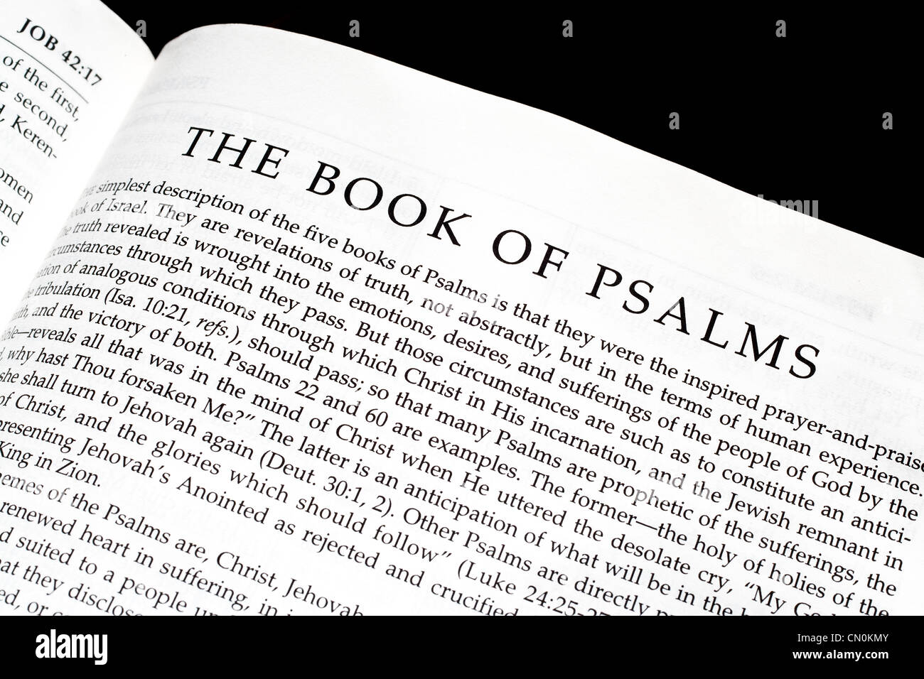 bible opened to the book of psalms stock photo 47343995 alamy
