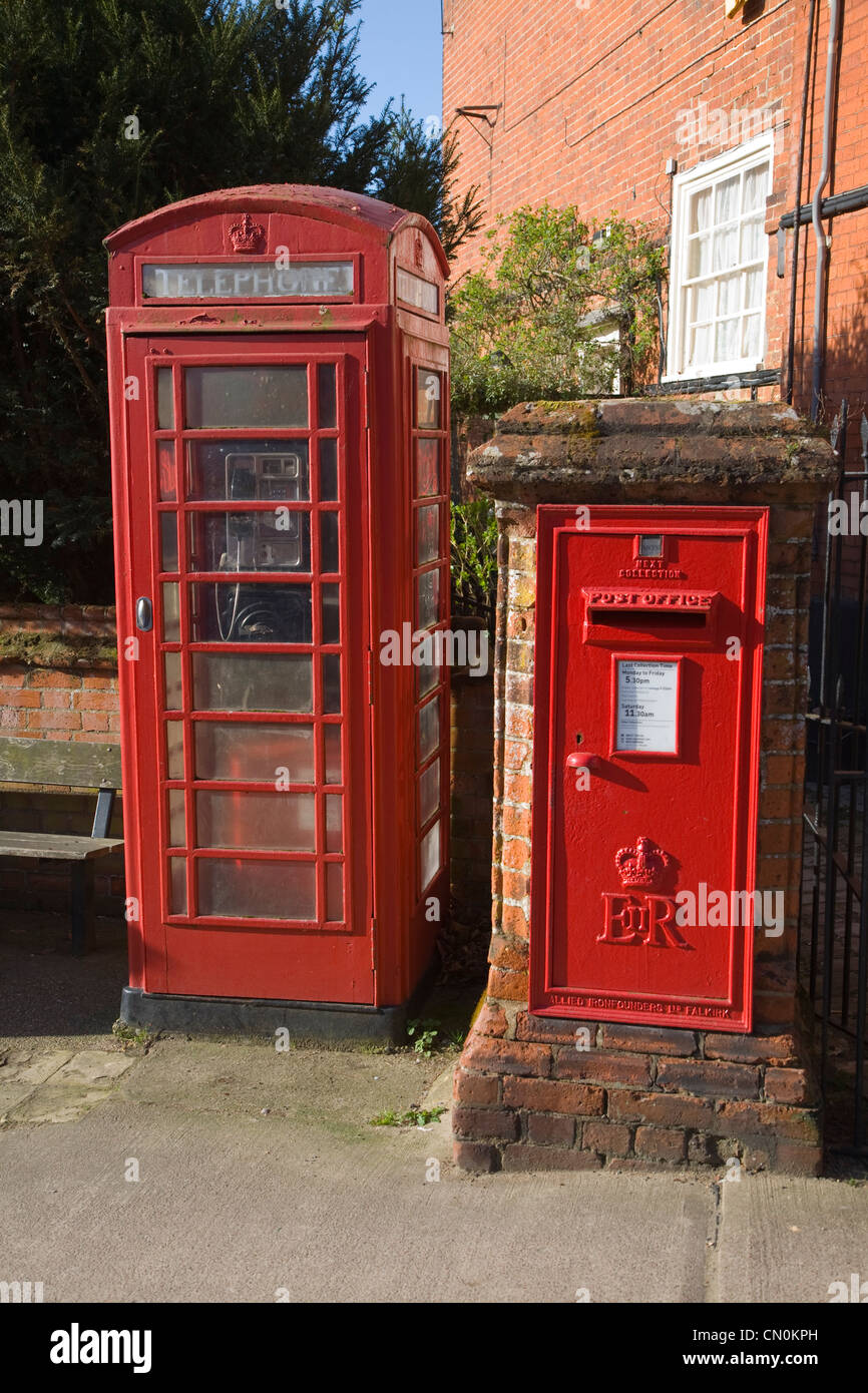 Red telephone box and Royal Mail post box, Woodbridge, Suffolk, England - Stock Image