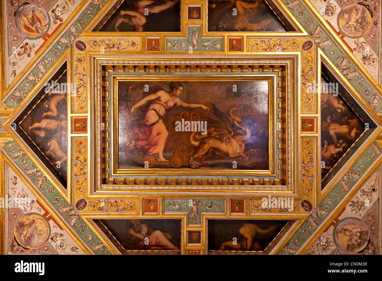Florence, Ceiling panel in the Palazzo Vecchio, Unesco World Heritage Site, - Stock Image