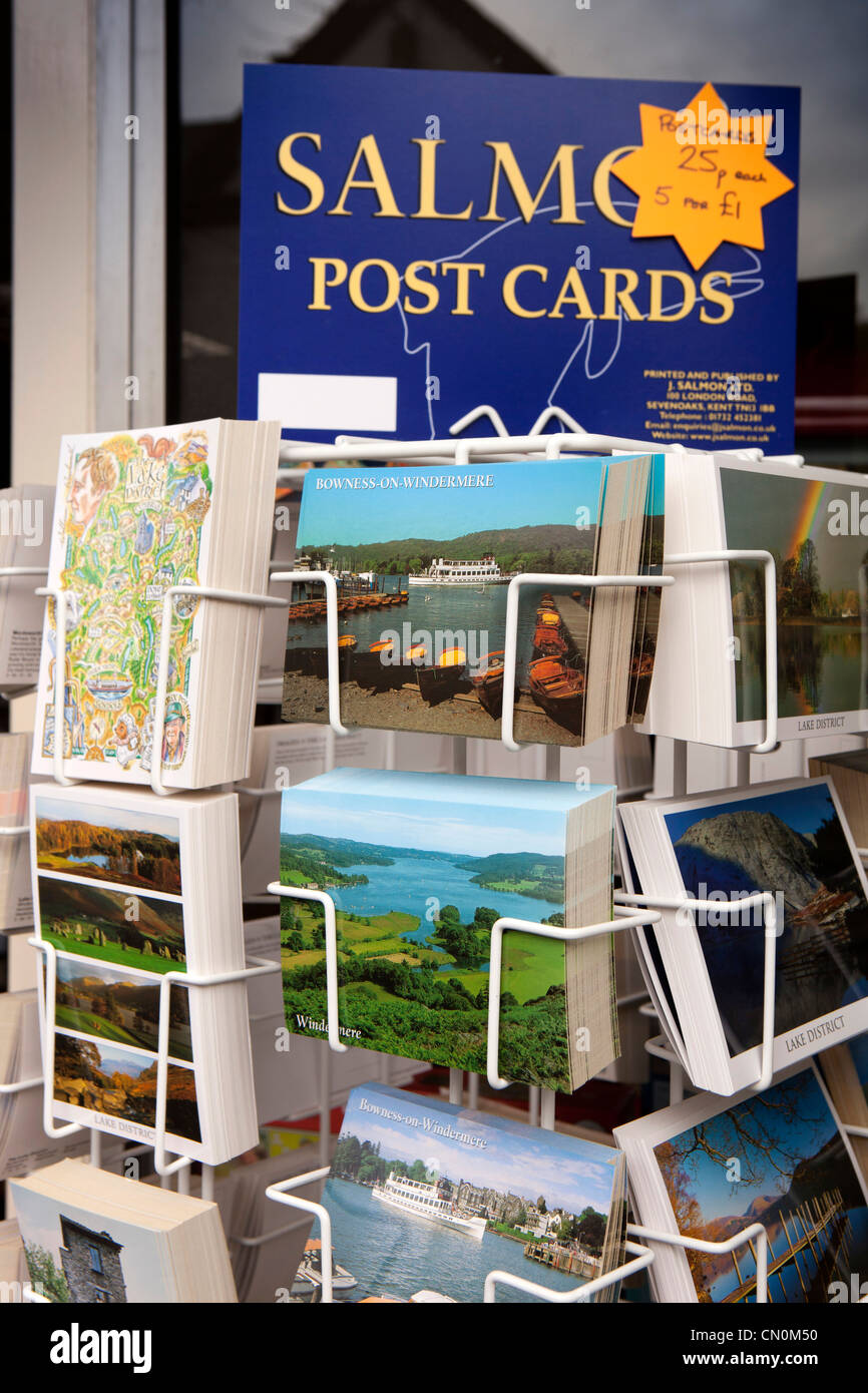 UK, Cumbria, Bowness on Windermere, local view picture postcards on sale in souvenir shop - Stock Image