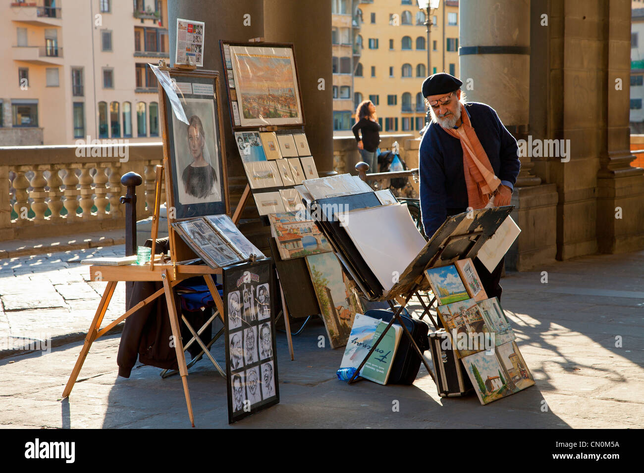 Europe, Italy, Florence, Street artist Painter at Uffizi Piazzale - Stock Image