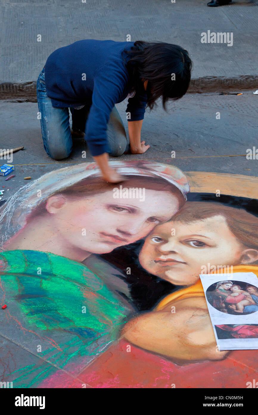 Europe, Italy, Florence, Street artist Painter - Stock Image
