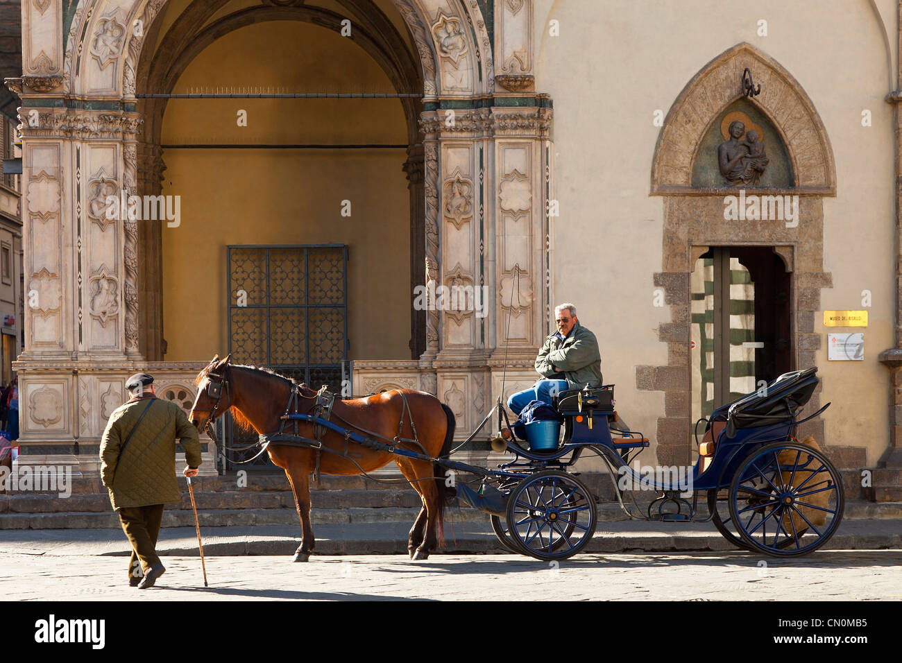 Florence, Carriage on Street - Stock Image