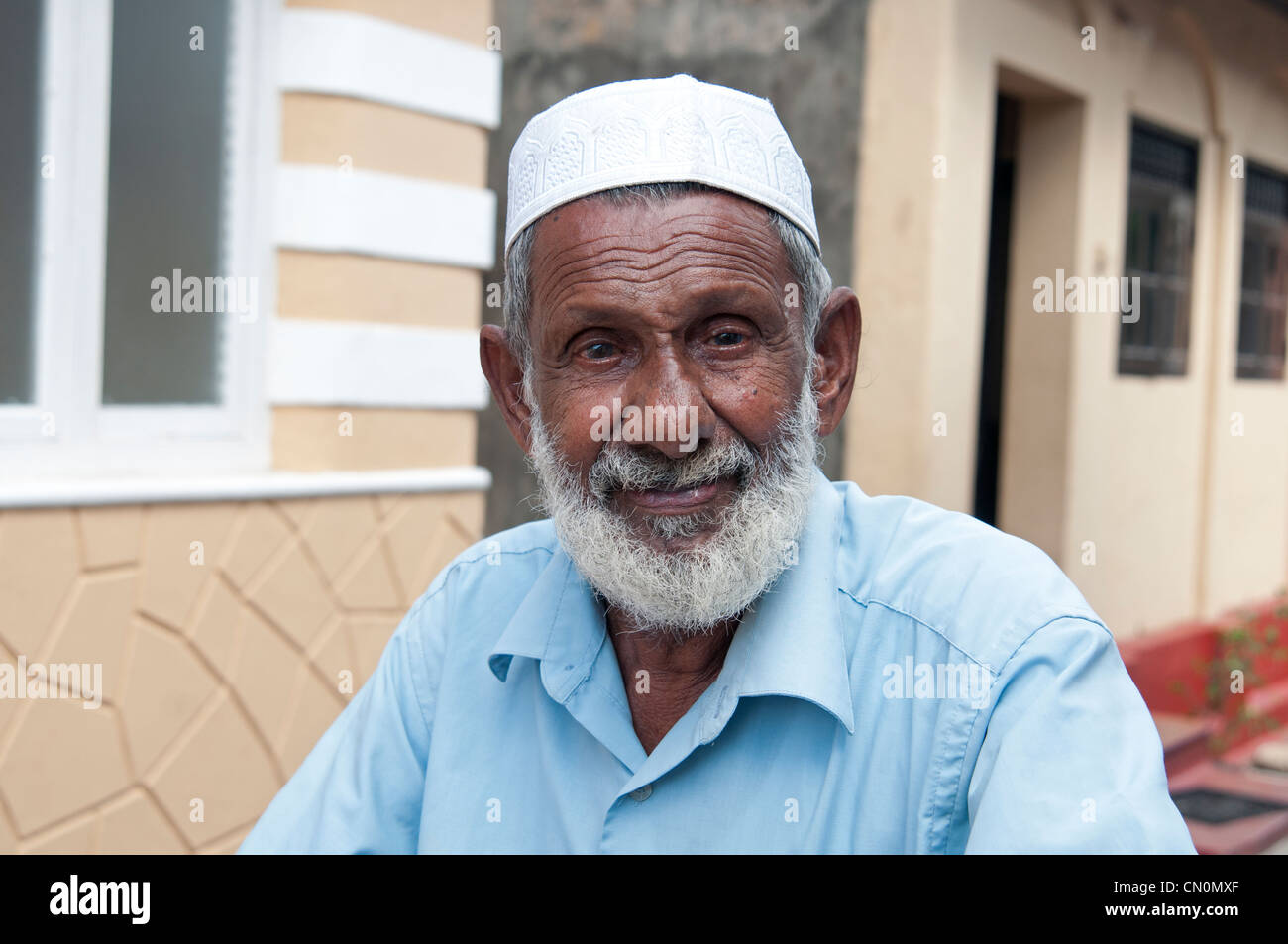 The Muezzin of the Meeran Jumma Mosque in the Galle Fort Sri Lanka - Stock Image