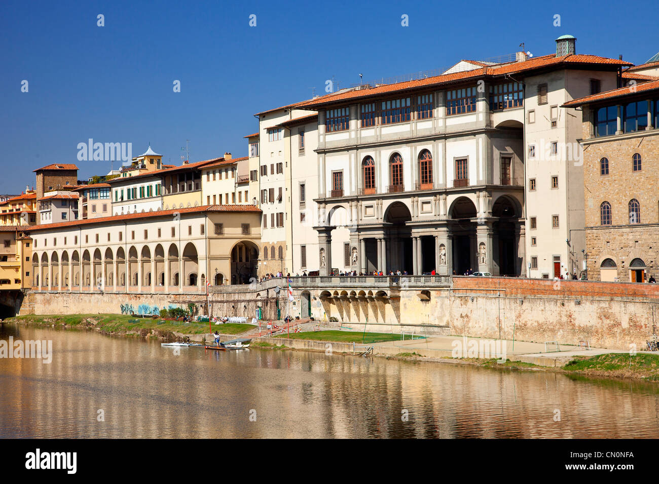 Europe, Italy, Florence, The river Arno and Uffizi Gallery - Stock Image