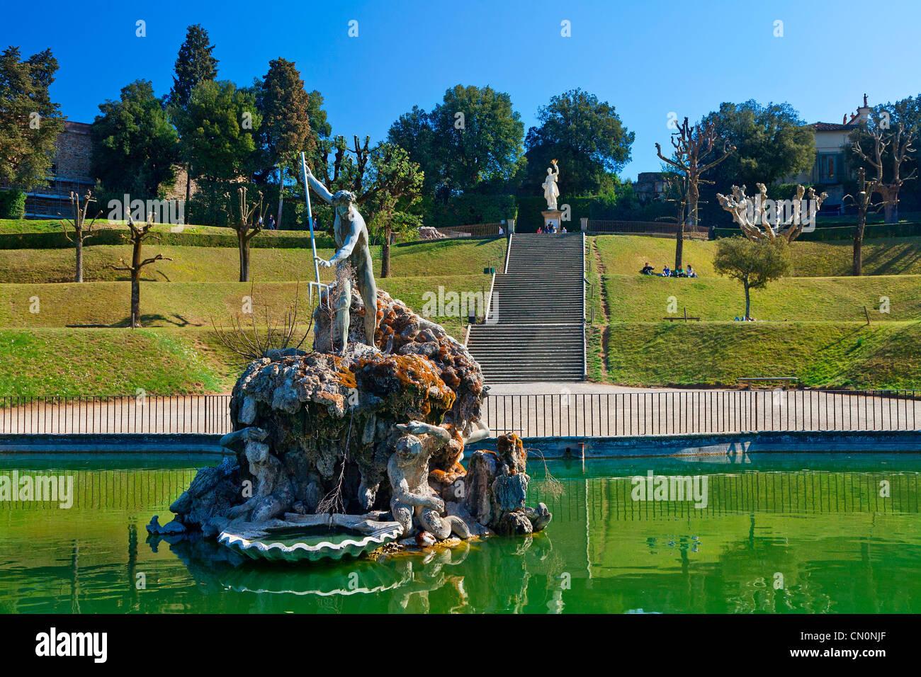 Europe Italy Florence Boboli Garden Neptune Fountain Stock