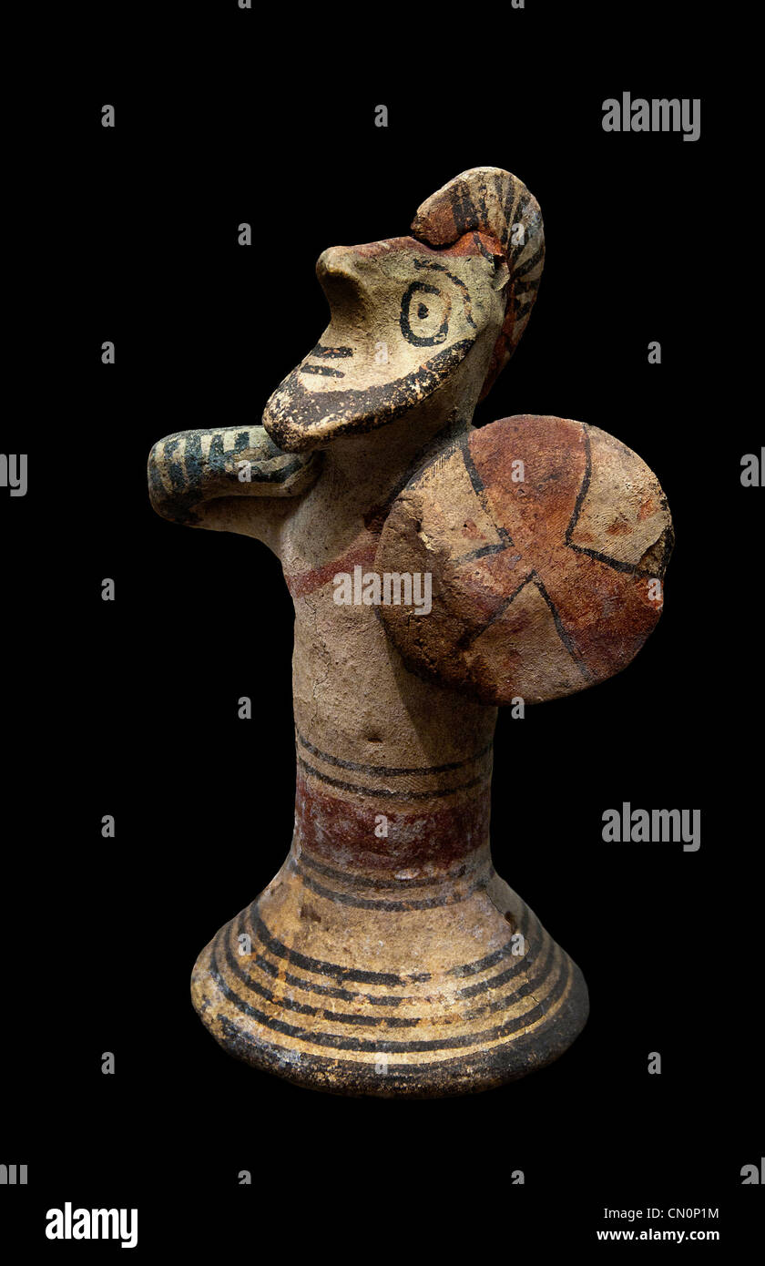 Warrior provided with a shield Cypro Archaic II eighth - seventh century BC Cyprus - Stock Image