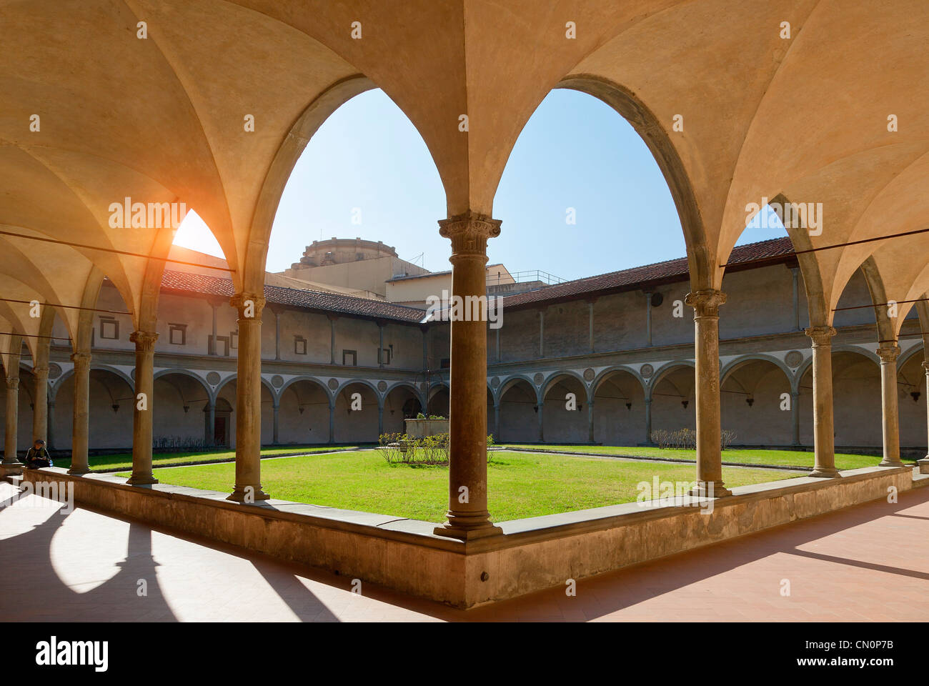 Italy, Florence, Basilica of Santa Croce, The Cloister - Stock Image