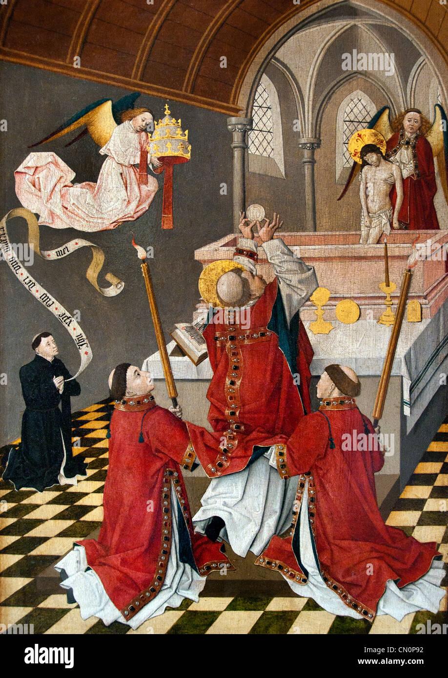 DIJON The Mass of St. Gregory Carthusian monastery La Messe de saint Grégoire la chartreuse Dijon Champmol Stock Photo