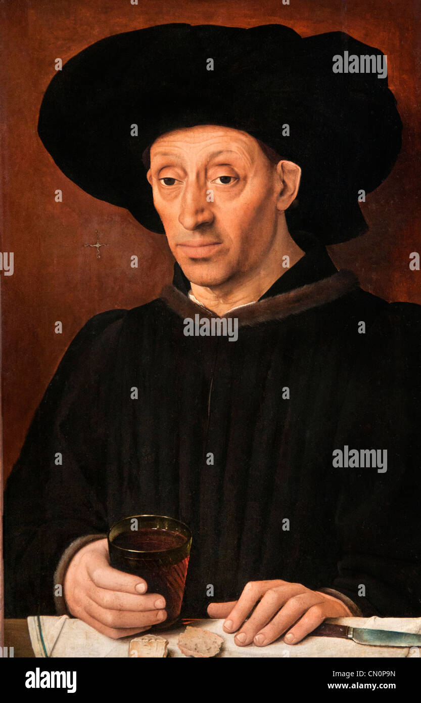 L'Homme au verre de vin 1460 Man with glass of wine Louvre France French - Stock Image
