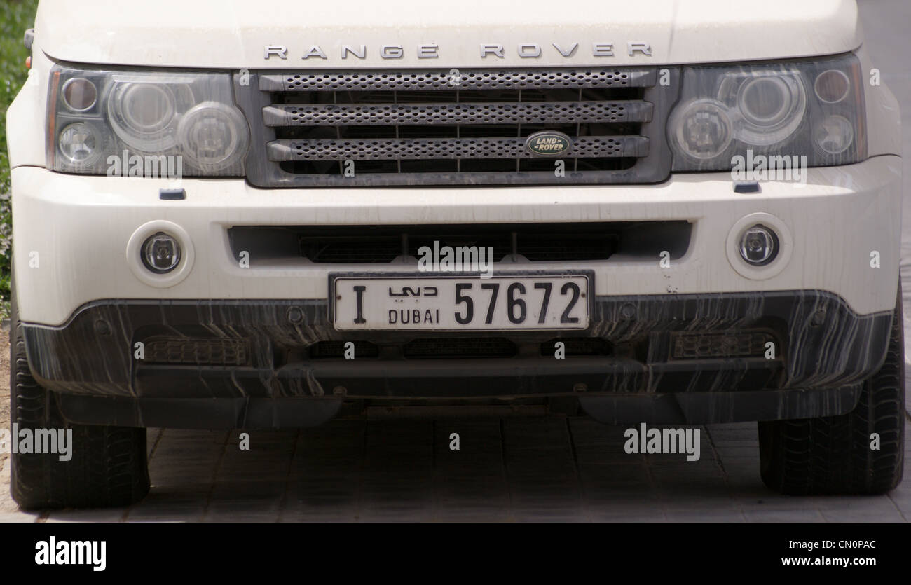 A Range Rover With Dubai Number Plate United Arab Emirates
