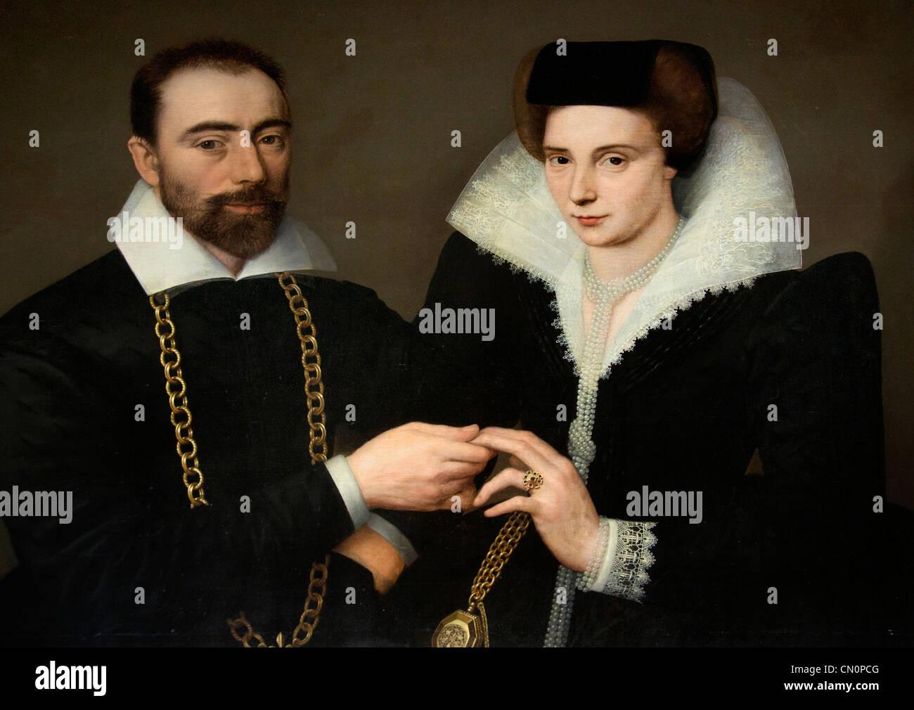 Ecole Francaise portrait d un couple 1610 French School - Stock Image