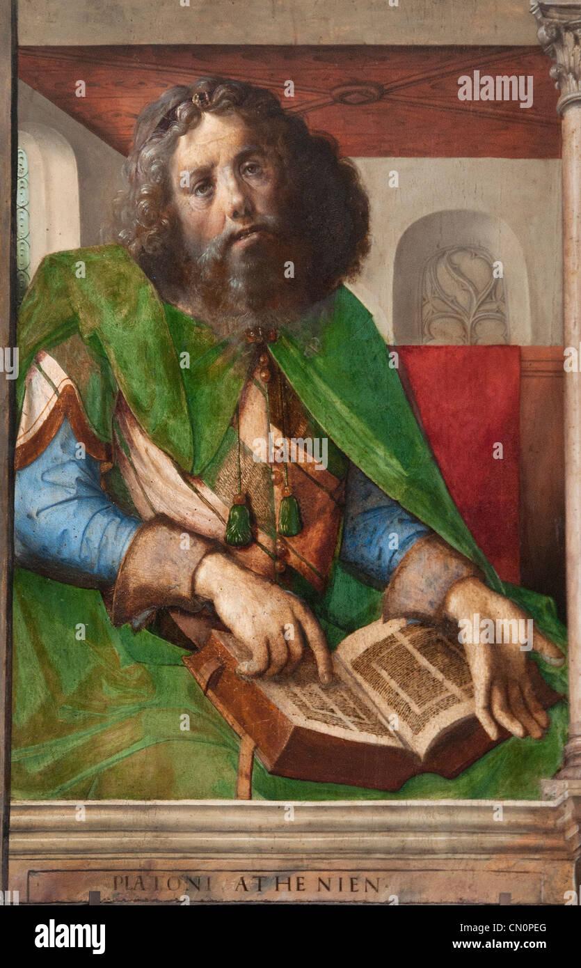 Plato Platon  the Greek philosopher Urbino Paintings 1474 Justus van Gent and Pedro Berruguete - Stock Image