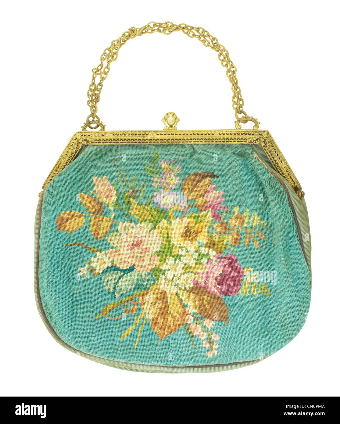 Retro female purse on white background. - Stock Image