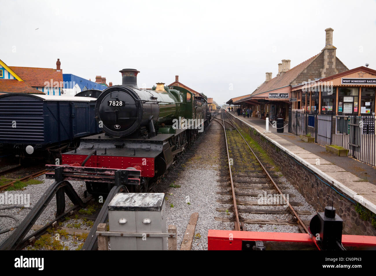 West Somerset Railway, Minehead, Station Track & Locomotives Stock Photo