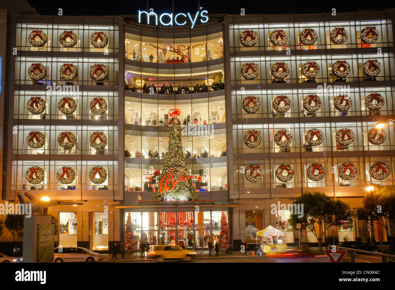 macys department store christmas decorations san francisco california usa