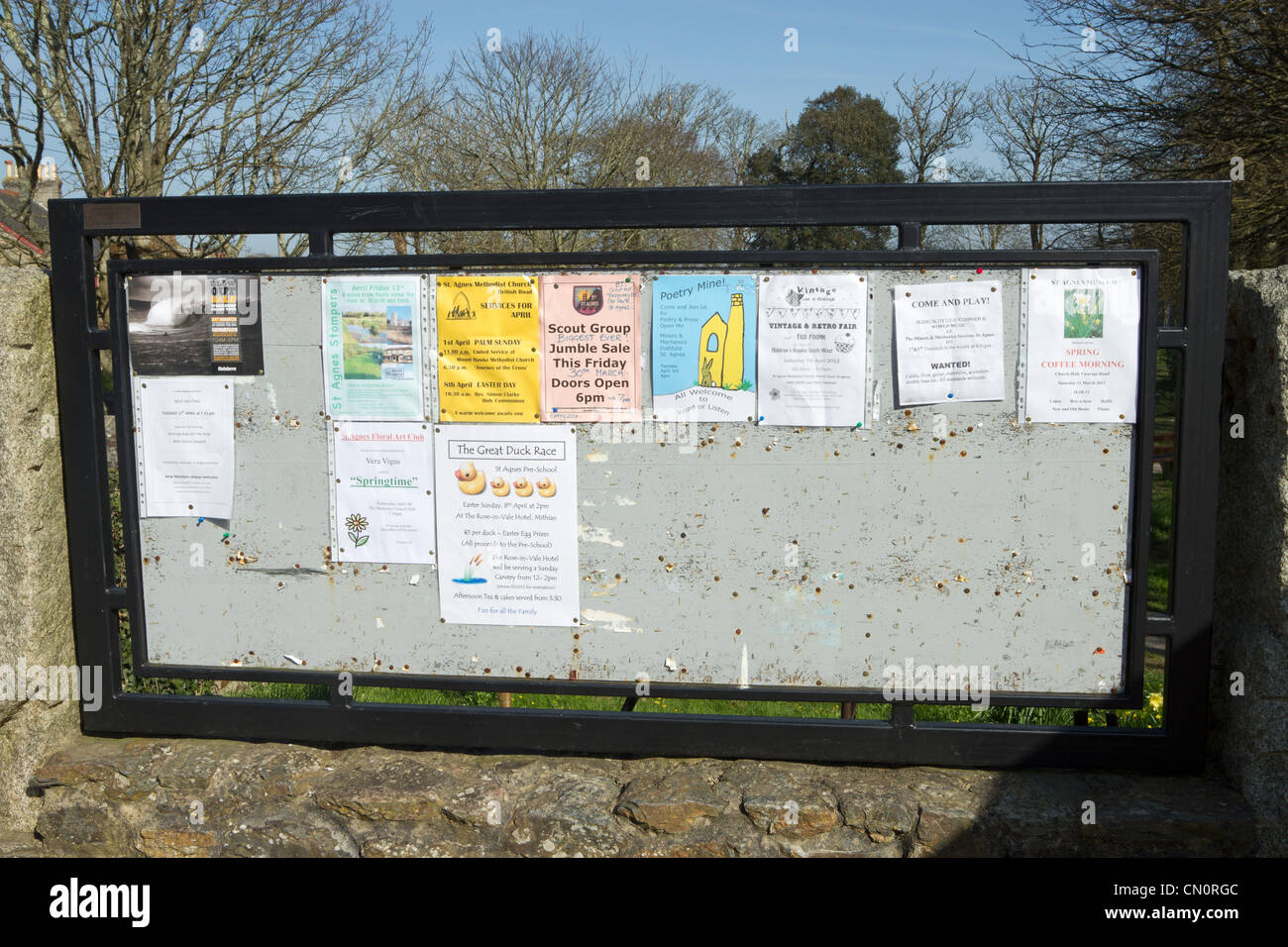 St Agnes Cornish village noticeboard local events information. - Stock Image