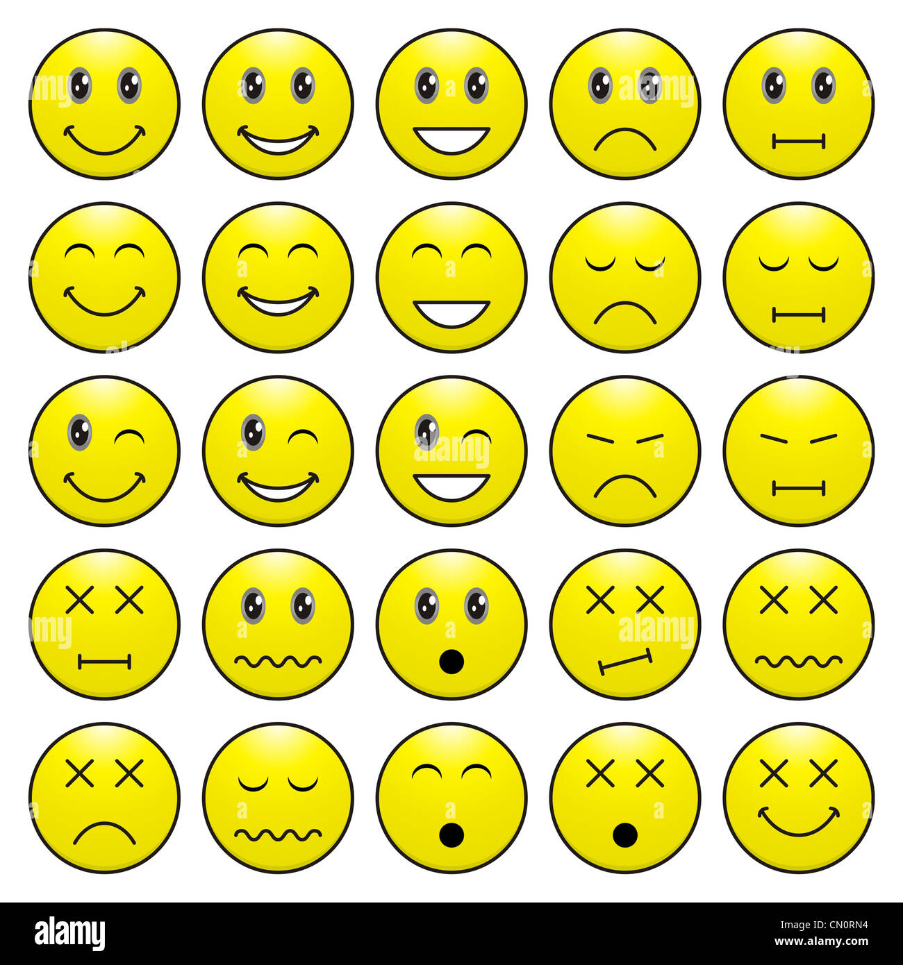 Pack of faces (emoticons) with various emotions expression - Stock Image