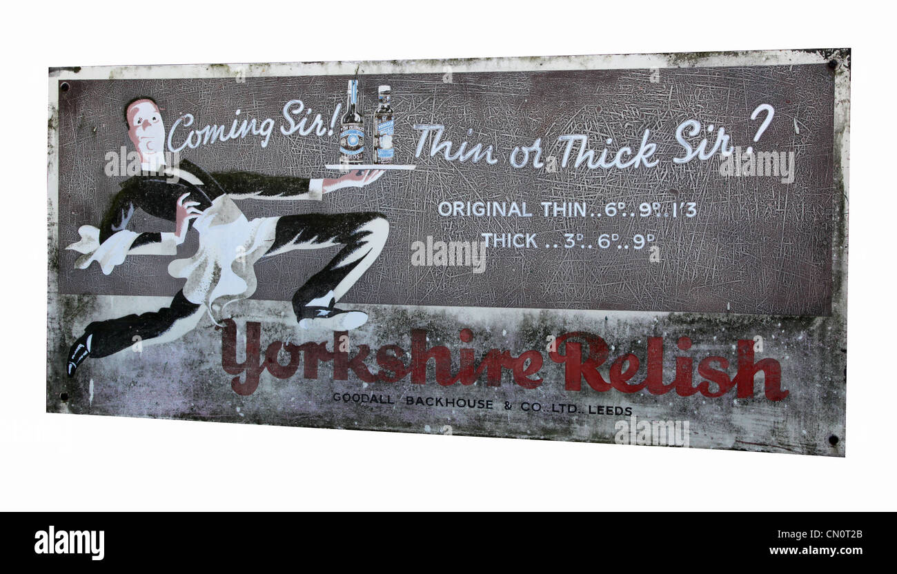 An old Yorkshire Relish steel poster. - Stock Image