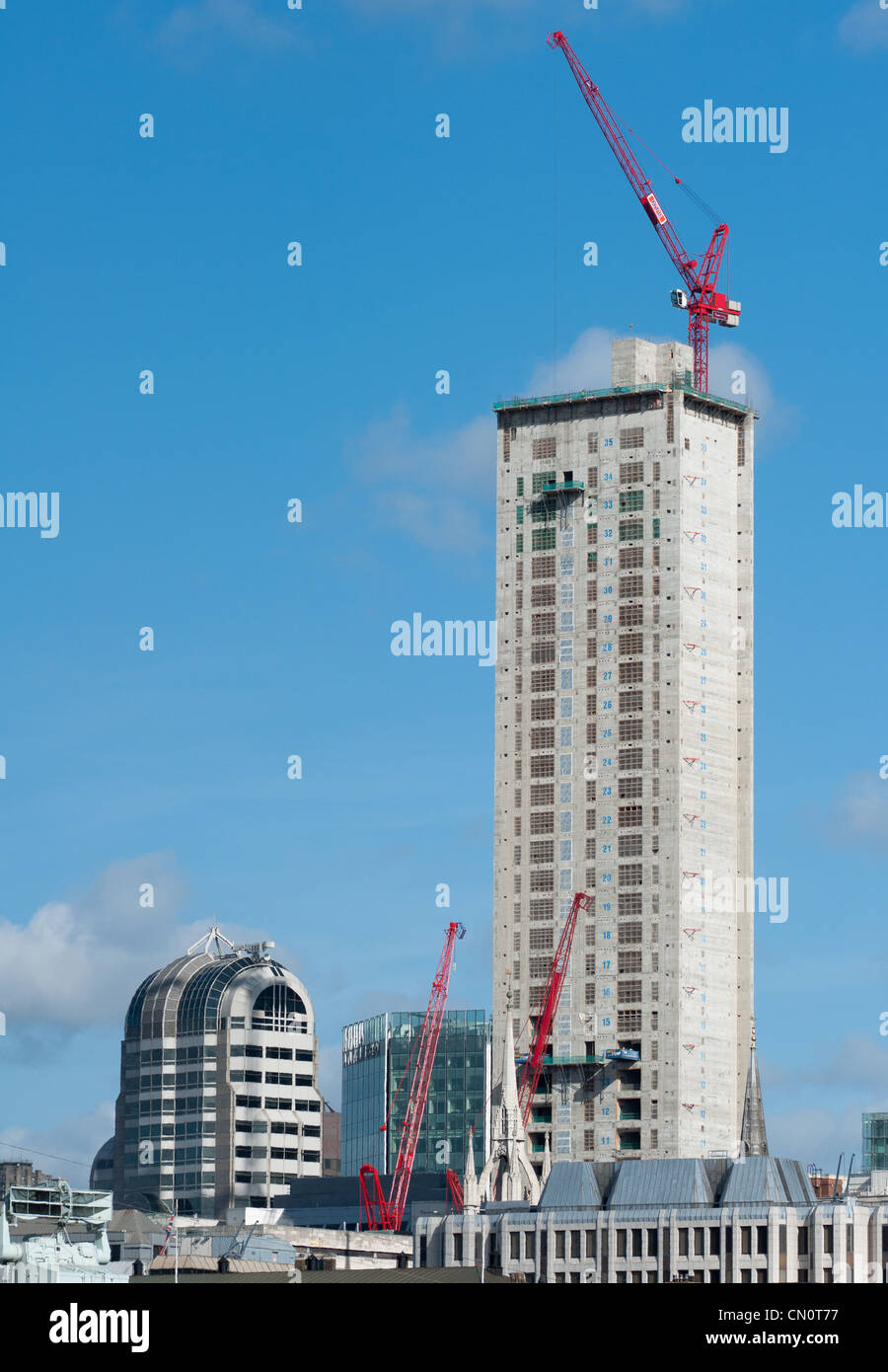 Skyscraper at 20 Fenchurch Street under construction in the City of London, England. - Stock Image