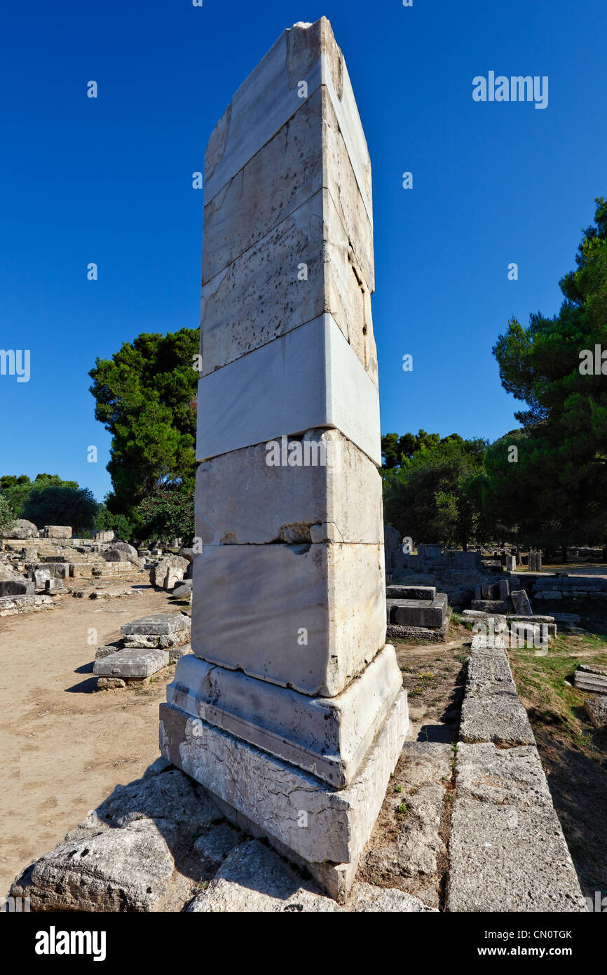 Base of Paeonios' Victory (5th cent. B.C.) in Olympia, Greece - Stock Image