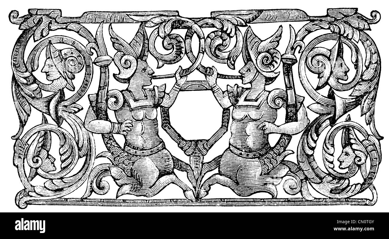 Openwork cover the chest, 16th century. Publication of the book 'Meyers Konversations-Lexikon', Volume 7, - Stock Image