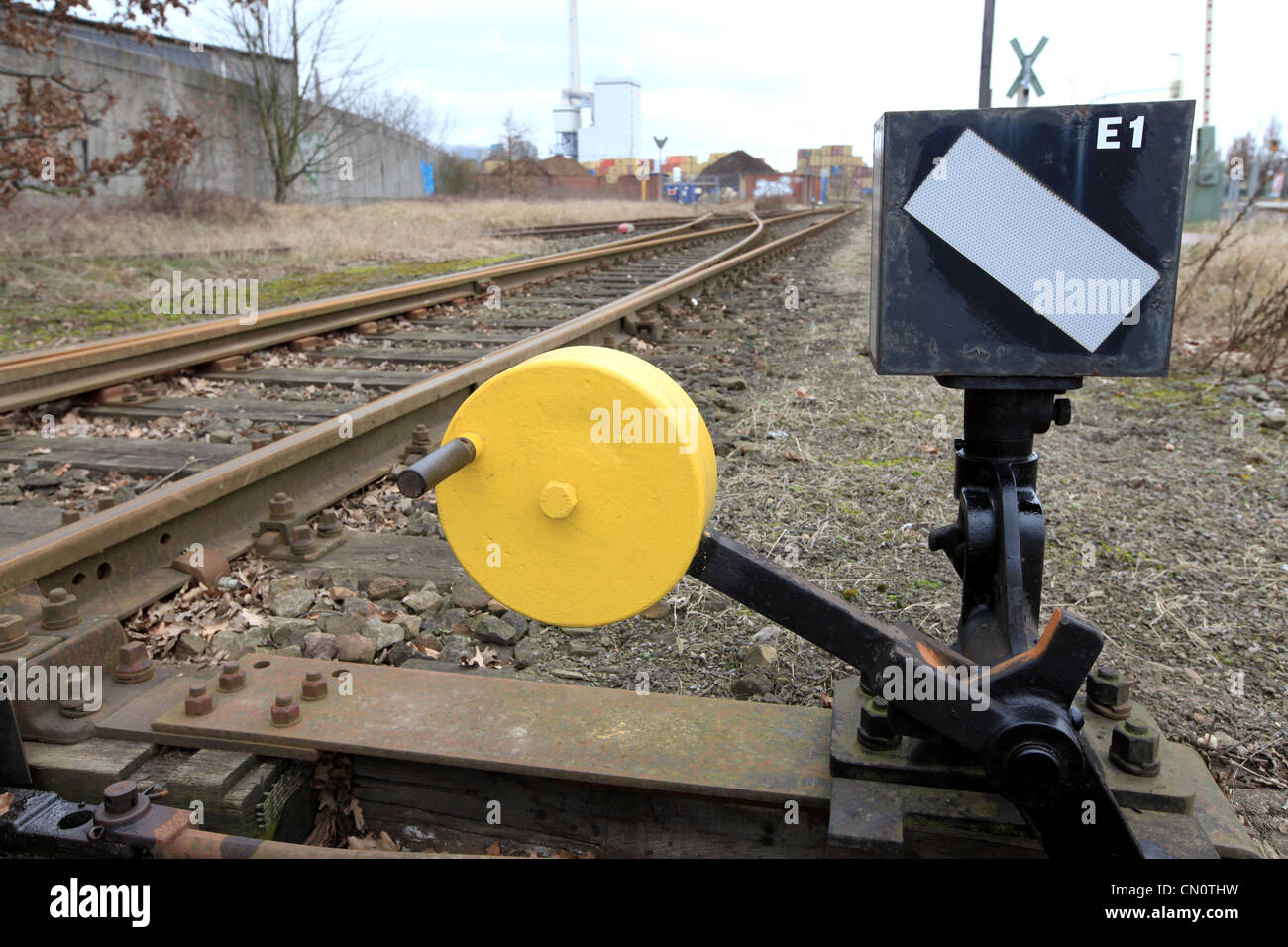 Points indication signal for railway traffic in the port of  Bremen, Germany - Stock Image