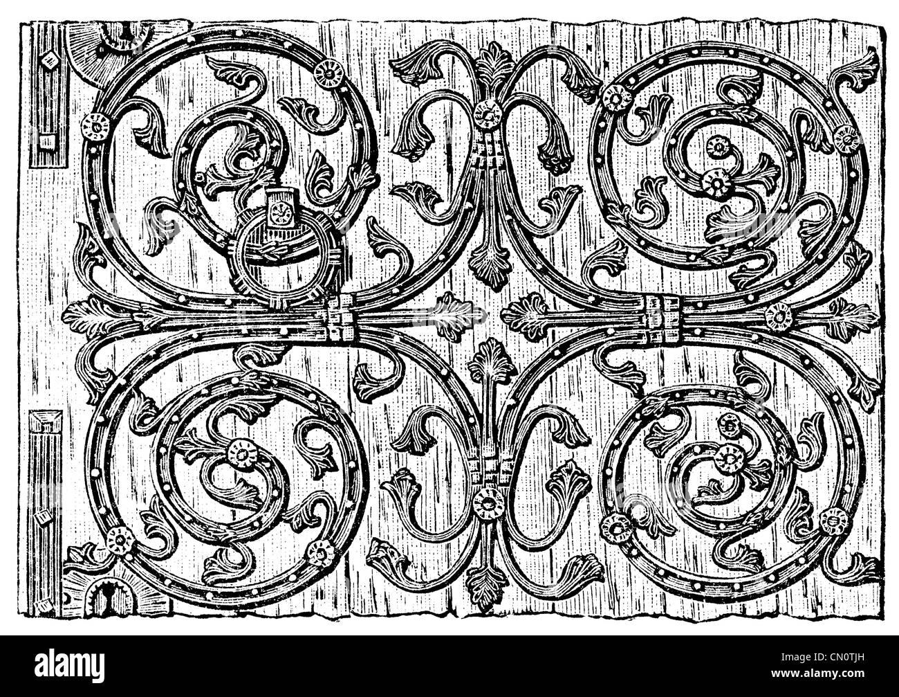 Door Fittings, Liege, 13th century. Publication of the book 'Meyers Konversations-Lexikon', Volume 7, Leipzig, - Stock Image