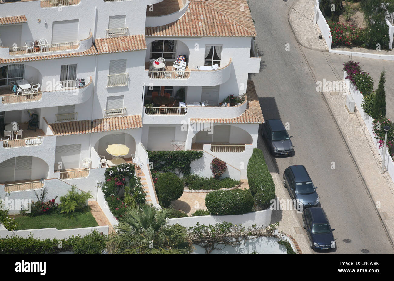 An aerial view of the ground floor Ocean Club apartment where Madeleine McCann disappeared from in 2007, Praia da - Stock Image