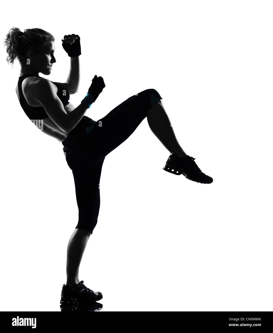 one woman exercising workout fitness aerobic exercise posture on studio isolated white background Stock Photo