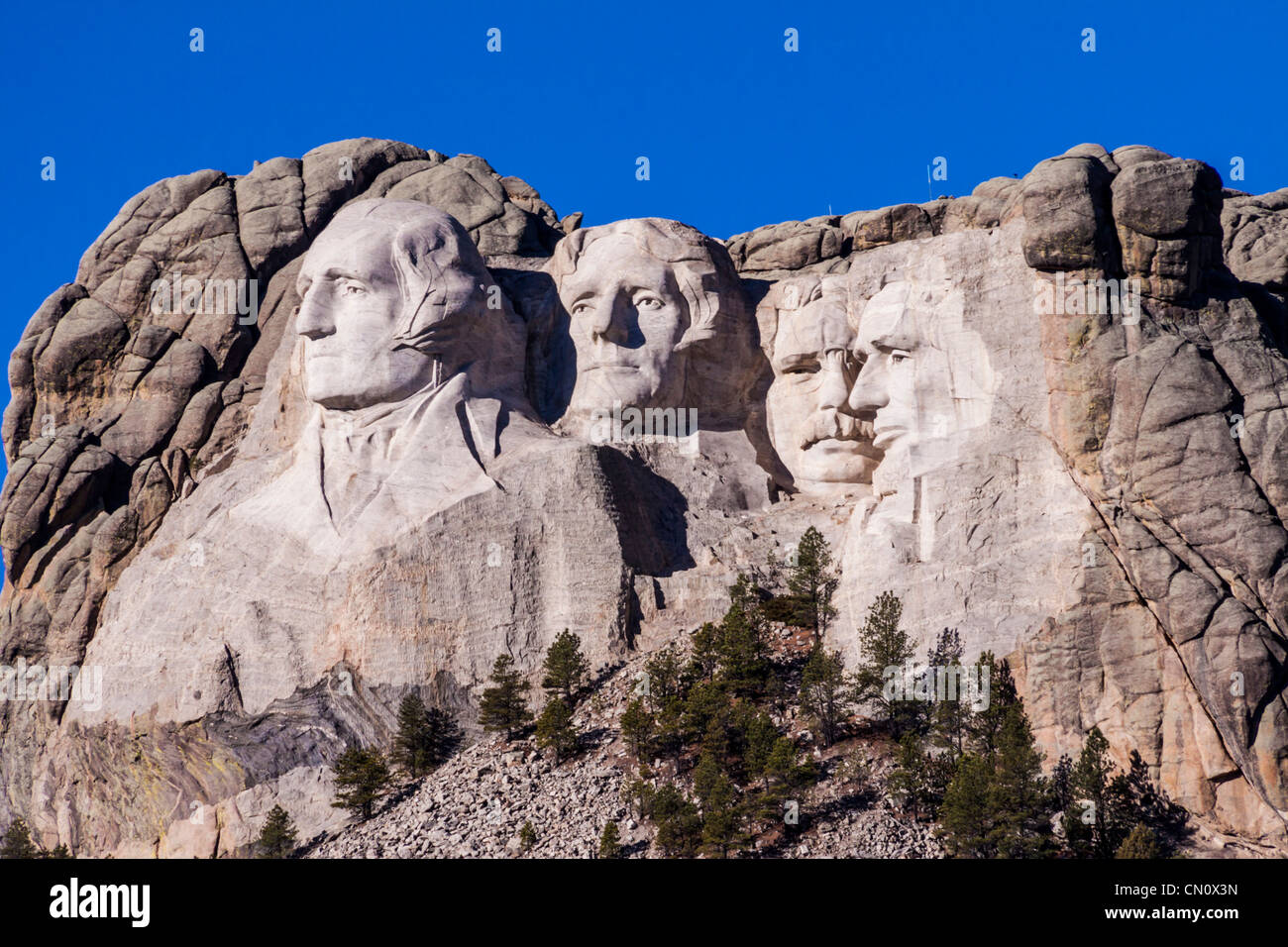 President sculptures Mount Rushmore National Memorial in South Dakota, a famous patriotic symbol since it was complete Stock Photo