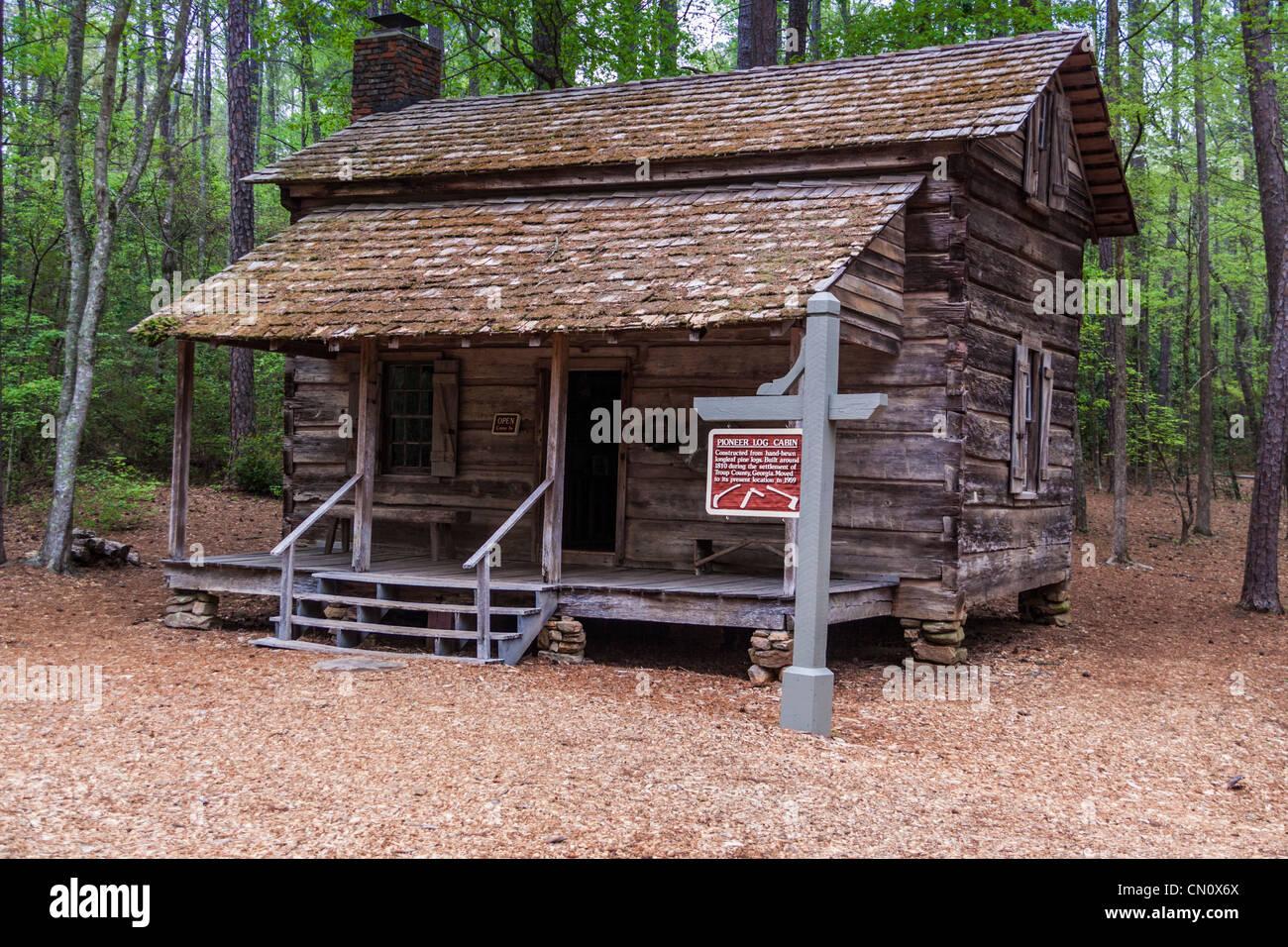 Pioneer Log Cabin At Callaway Gardens In Pine Mountain, Georgia.   Stock  Image