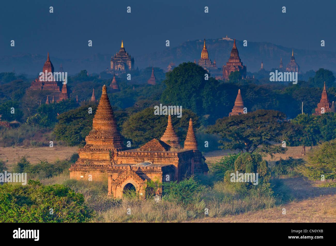Temples in dawn light, Bagan, Myanmar - Stock Image