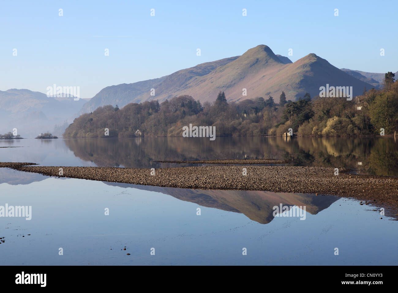 Catbells Mountain reflected in Derwentwater Keswick NW England UK - Stock Image