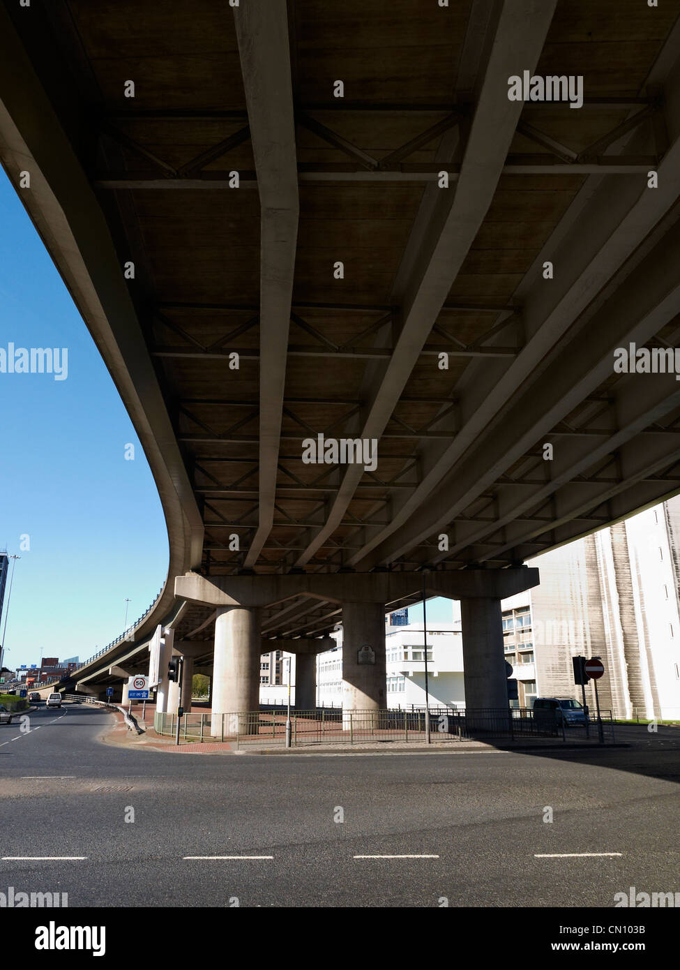 Under the Mancunian Way in Manchester UK - Stock Image